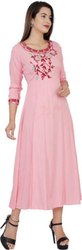 Ankle Length Round Neck Women Light Pink Embroidered Rayon Flared Kurta