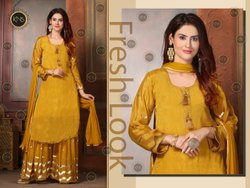 Ladies Designer Chinon Sharara Suit