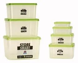Square Airtight Plastic Food Container 7 Pcs Set