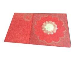 Red Designer Wedding Invitation Cards, 2 Leaflet