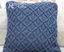 Blue Macrame Cotton Cushion Cover