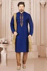Party Wear Embroidered Men Banarasi Silk Kurta Pajama, Machine wash, Size: 40