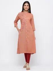 Jaipur Kurti Women Rust Self Design Flared Blended Kurta