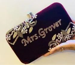 Handmade Embroidered Box Clutch