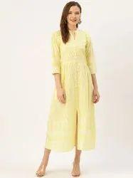 Casual Wear Jaipur Kurti Yellow Printed Flared Dress