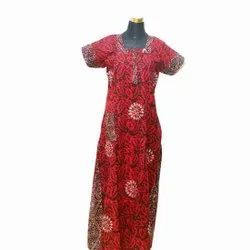 Full Length Cotton Ladies Red Printed Nightgown, Free Size
