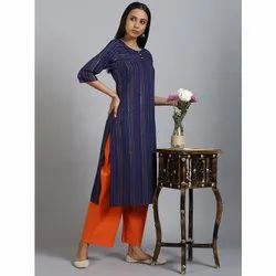 Janasya Women's Blue Rayon Kurta With Palazzo (SET243)