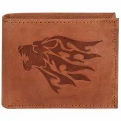 Hawa Lion Sign Embossed Medium Brown Hunter Leather Wallet For Men