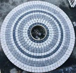 Concrete Square natural stone Paver Block round design, Dimensions: 4*4, Thickness: 60mm