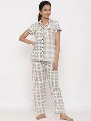 Jaipur Kurti Women Off White Printed Night Suit