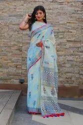 Party Wear Linen Printed Saree, Saree Length: 6.3 Mtr (With Blouse Piece)