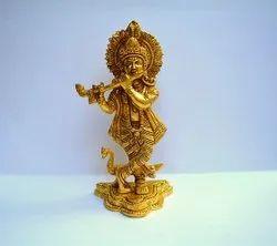 Brown Brass Krishna Statue