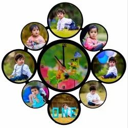 VHPC-33 Sublimation Hardboard Clock Photo Collage Frame