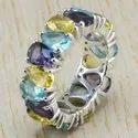Multi Gemstone 925 Sterling Silver Jewelry Ring WR-6426