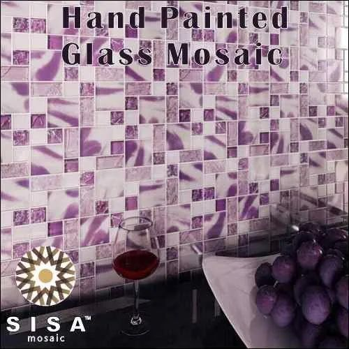 Hand Painted Glass Mosaic Tile
