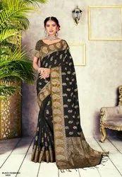 Party Wear Border Fancy Chanderi Cotton Sarees with Blouse Piece