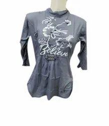 Toko Fabric Party Wear Girls Printed Grey Top