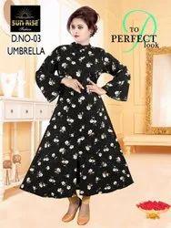 Casual Wear Full Sleeve Designer Umbrella Cotton Kurti, Wash Care: Machine wash