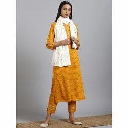 Janasya Women''s Mustard Rayon Kurta With Pant And Dupatta (Set221)