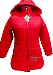 Ladies Red Hooded Jacket