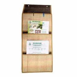 Brown 3 Compartment Banana Fiber Letter Holders, For Office