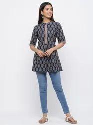 Jaipur Kurti Women Navy Blue Ethnic Motif Flared Cotton Short Kurta