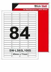 A4 LABEL SHEET LS84L ( 45mm X 11mm ) STICKWELL
