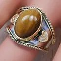 925 Silver And Brass Jewelry Tiger Eye Gemstone Adjustable Nice Ring SJWR-315