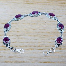925 Sterling Silver Indian Jewelry Beautiful Ruby Gemstone Bracelet Wb-5133