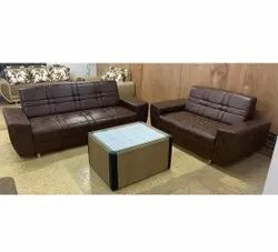 Modern Brown Leather Sofa Set, For Office