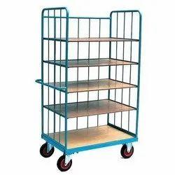 Steel Bon Mild Steel 5 Shelf Warehouse Trolley, for Industrial, Load Capacity: 300-400 Kg