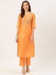 Jaipur Kurti Yellow Embroidered Chanderi Kurta With Pants