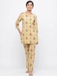 Jaipur Kurti Women Beige Floral Print Straight Cotton Lounge Wear