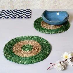 Green And Brown Jute Round Table Placemat, Size: 18 Inch
