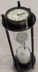 6041 Antique Black Hourglass Sand Timer With Clock