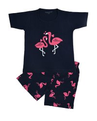Funkrafts Girls Half Sleeves T-shirt and Short Night Suit Flemingo print - Navy Blue