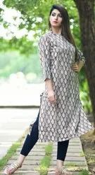 Knee Long Printed Cotton Cambric Straight Kurta