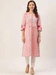 Jaipur Kurti Pink Embroidered Cotton Slub Printed Straight Kurta