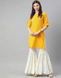 Jaipur Kurti Women Yellow Solid Straight Cotton Slub Kurta