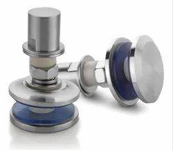 Satin Stainless Steel Glass Fixed Head Routel Double Clamp Fitting For Curtain Wall System ARF-03