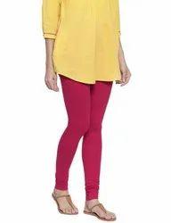 Cotton Comfort Fit And Stretchable Ladies Free Size Plain Churidar Legging