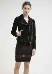 Black New Women Pure Leather Jacket Biker Motorcycle Racer Cafe Party