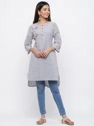 Jaipur Kurti Women Grey Stripe Straight Yarn Dyed Short Kurta
