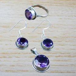 Sterling Silver Nice Amethyst Gemstone Jewelry Set