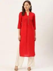 Jaipur Kurti Red pin tucks straight kurta with Rayon Solid Off White Palazzo