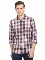 Vivid Wave Cotton Mens White And Red Checkered Casual Shirt