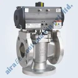 Pneumatic 3 Way Plug Valve Flanged