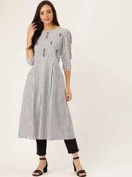 Jaipur Kurti Women Blue & Black Striped Flared Yarn Dyed Kurta With Pants