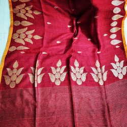 Border Maroon Exclusive Linen Sarees, With blouse piece