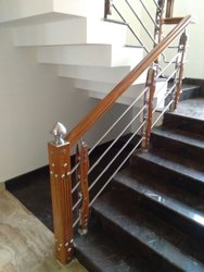 Silver Bar Stainless Steel Stair Railings, For Home, Mounting Type: Floor